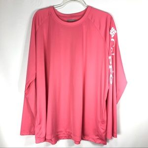 Columbia Omni Shade Top Pink  Plus Size 3X